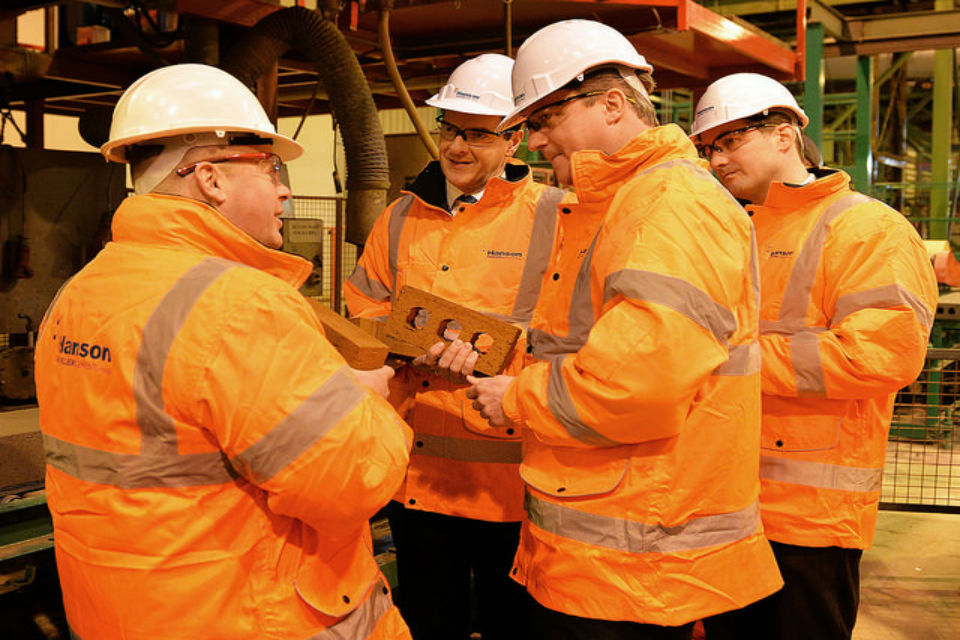 The Prime Minister and Chancellor speaking to staff at the Hanson Brickworks