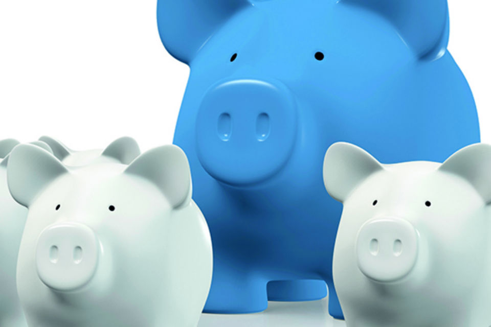 Graphic showing a number of white piggy banks in th shape of pigs, with a larger blue piggy bank behind them all