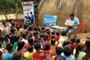Children at book launch in open air