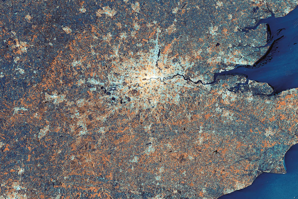 Satellite image of London and South East England.