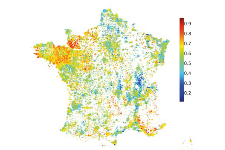 Roof orientation map of France
