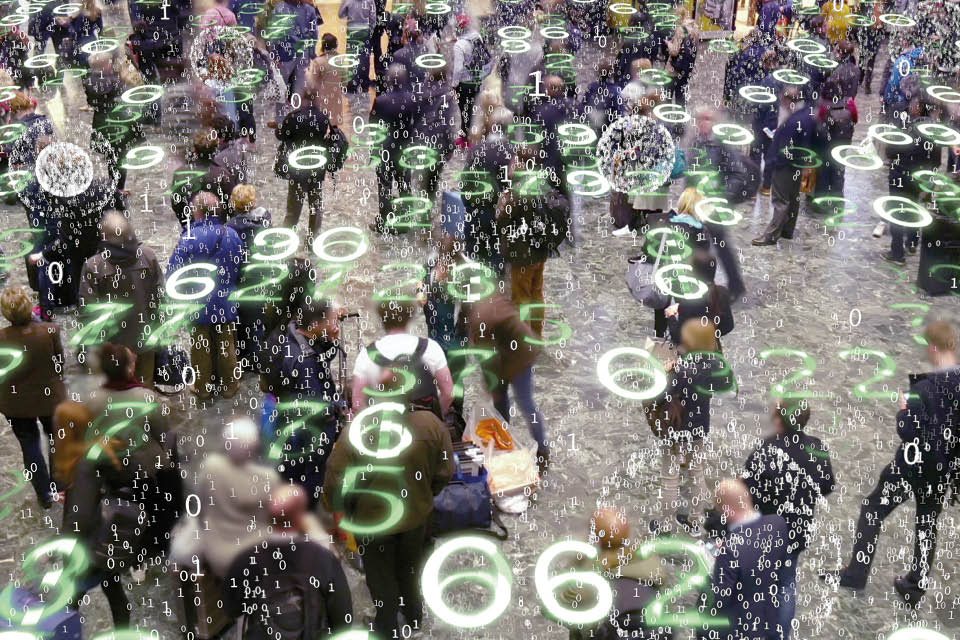 Image of people with number digitis superimposed