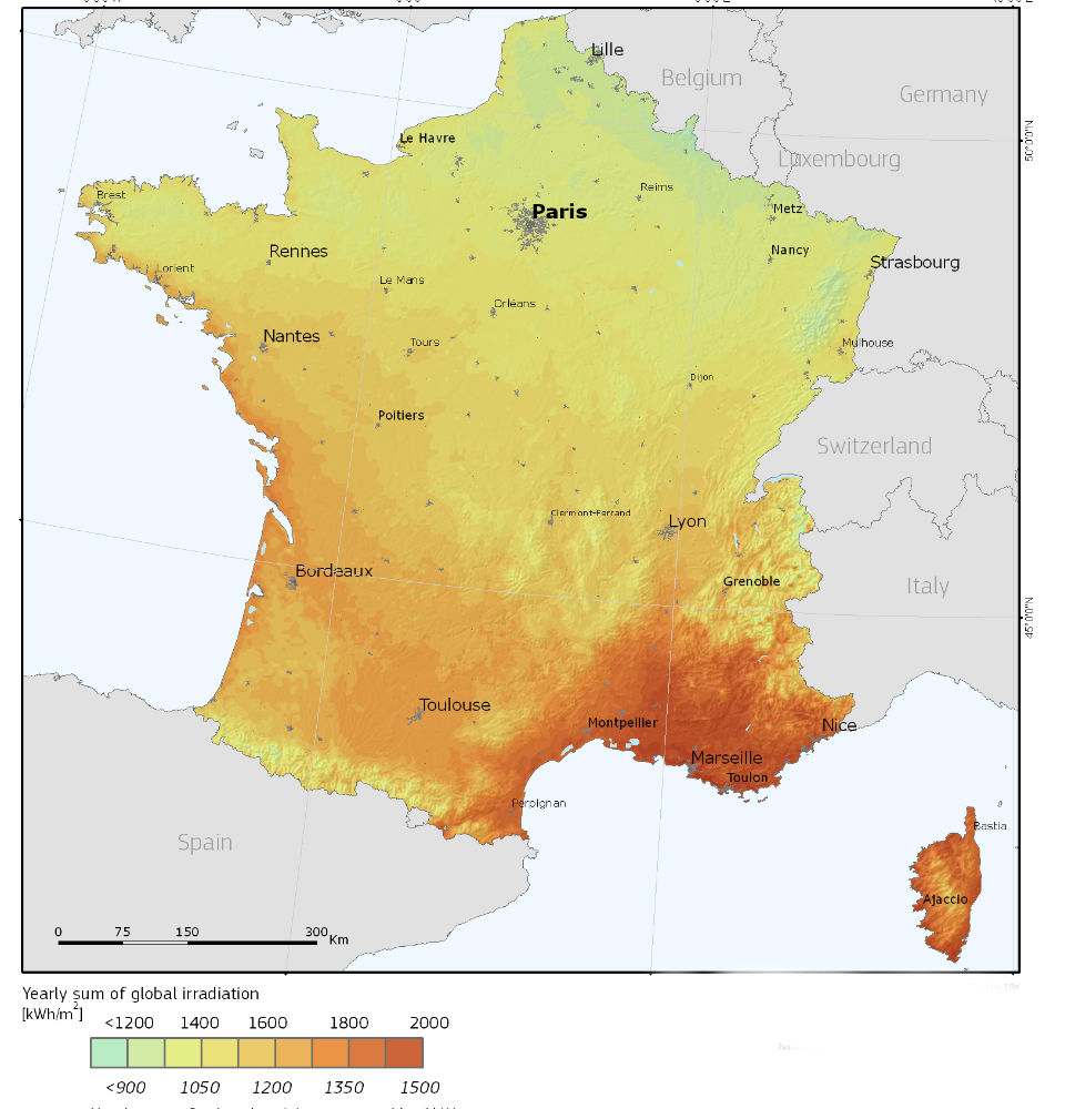 France solar irradiation map