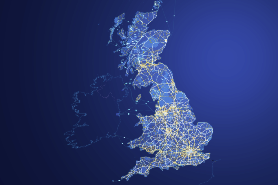 Visualisation of Britain's road network from space