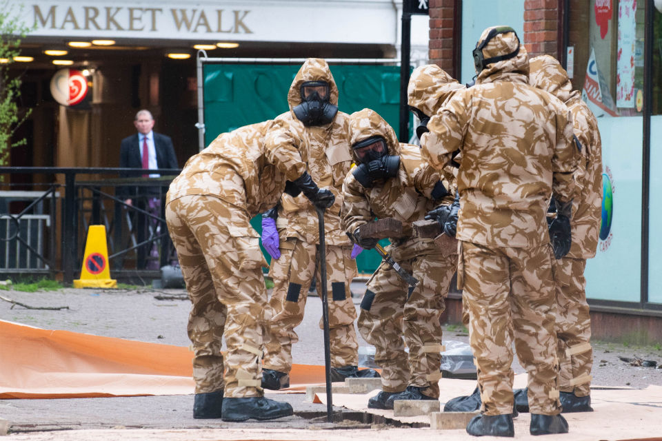 Military personnel in protective gear
