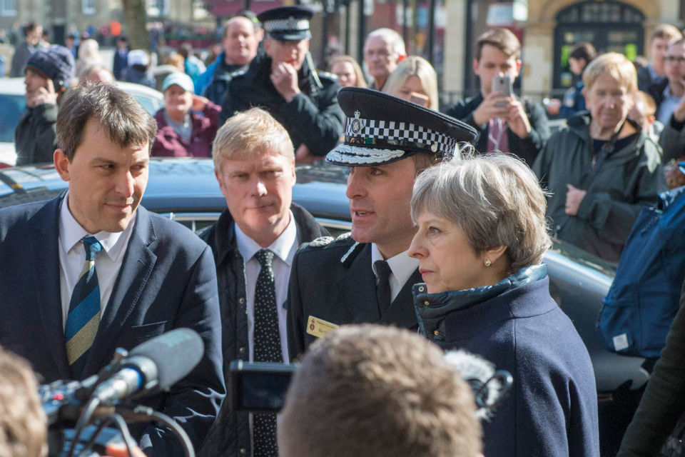 Prime Minister and police officer in Salisbury