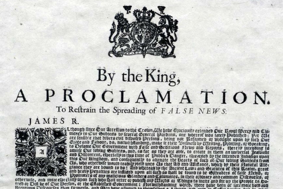 Detail from 1688 royal proclamation