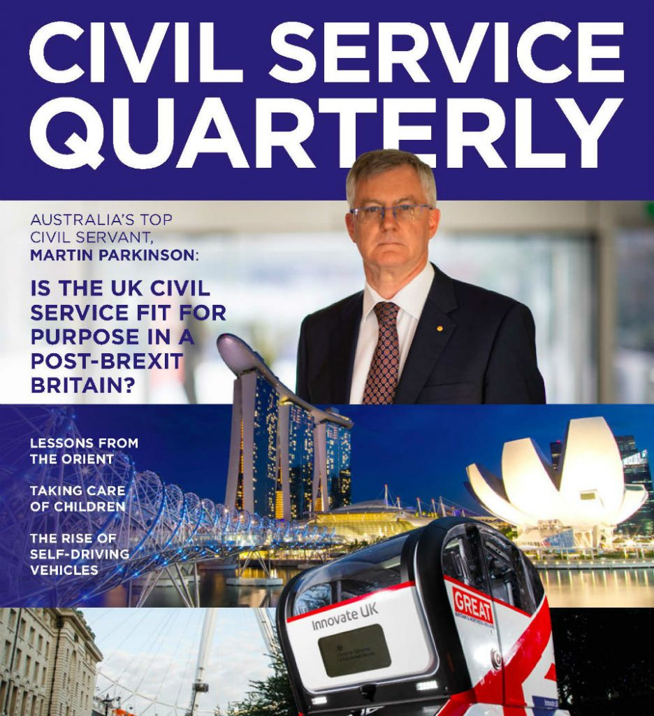Three-quarter image of the front cover of the Civil Service Quarterly magazine, issue number 18