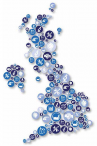 Map of the UK made up of circles representing different industries and sectors