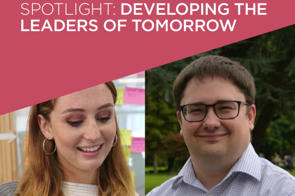 A composite image of Fiona Linnard and Rob Kent-Smith, under the headline: Spotlight: Developing the Leaders of Tomorrow.