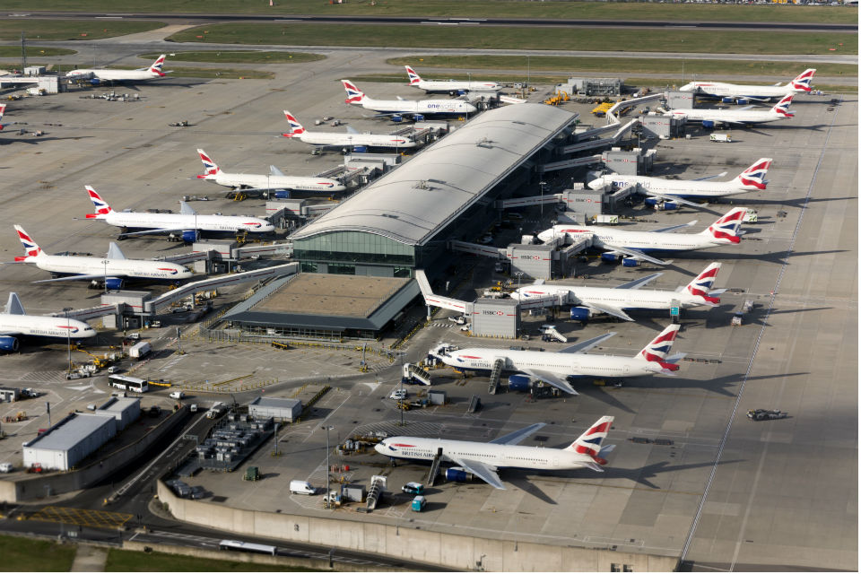 Overhead view of passenger planes at London Heathrow Airport