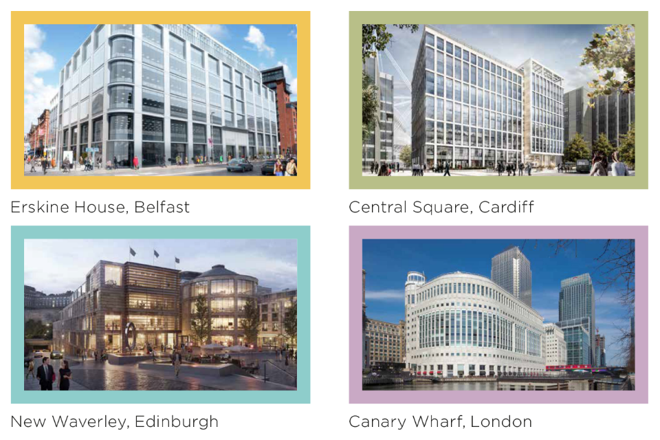 Composite of four images of government buildingsin each country of the UK