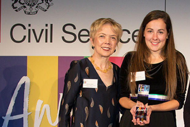 Charlotte Dring, Civil Service Award winner for Diversity and Inclusion, with award presenter Sue Owen, Permanent Secretary, Department for Digital, Culture, Media & Sport