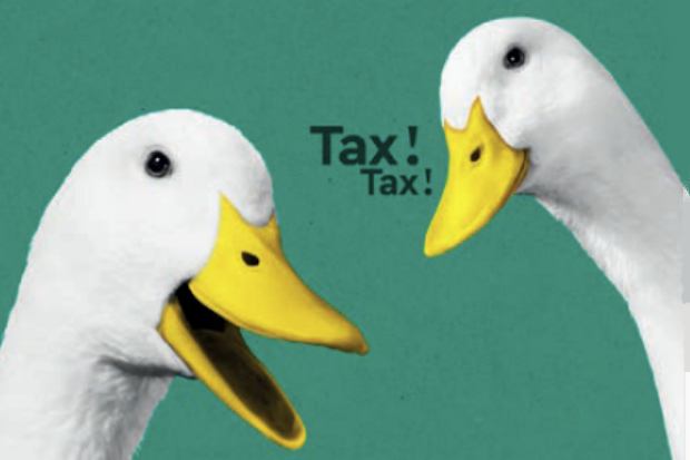 Graphic promoting the HM Revenue & Customs Self Assessment tax return campaign, and showing two ducks and the words 'Tax! Tax!'