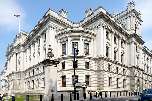 Exterior view of HM Treasury building in London