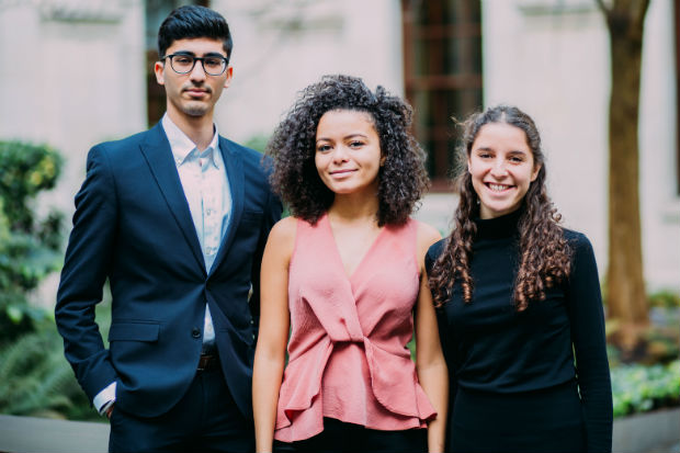 Three young Government Economic Service economists, Manraj Bhamra, HM Treasury, Lucia Slater, Department for International Trade, and Olivia Goldin, Department for International Trade