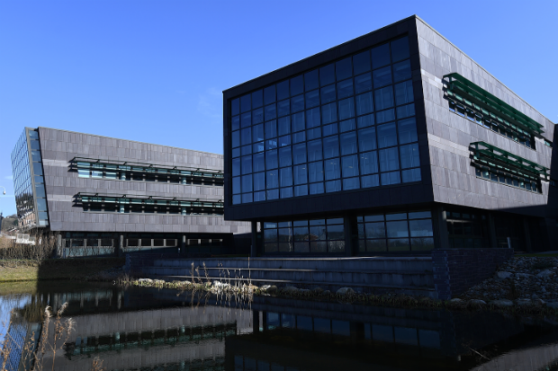 Exterior view of modernistic Welsh Government buildings