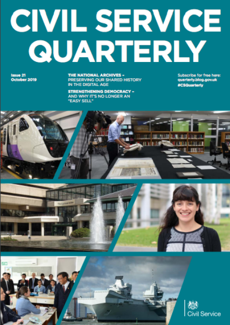 Front cover of Civil Service Quarterly 21, with a collage of images illustrating articles in the magazine.