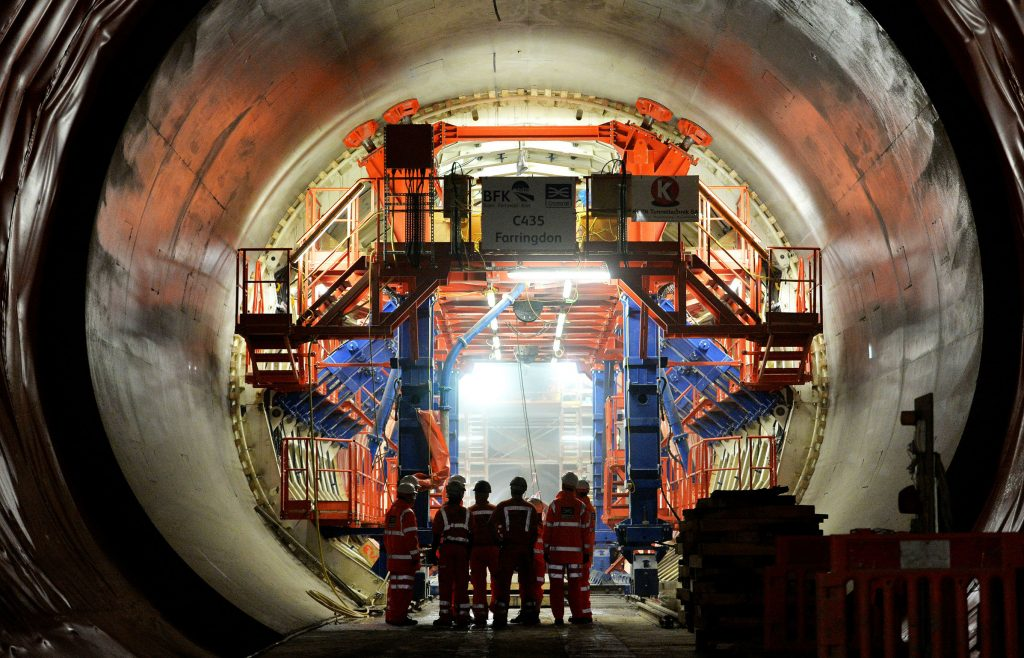 View inside a tunnel under construction on the Elizabeth Line