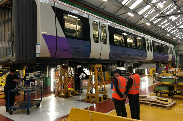 Train carriage for the Elizabeth Line (Crossrail) undergoing tests