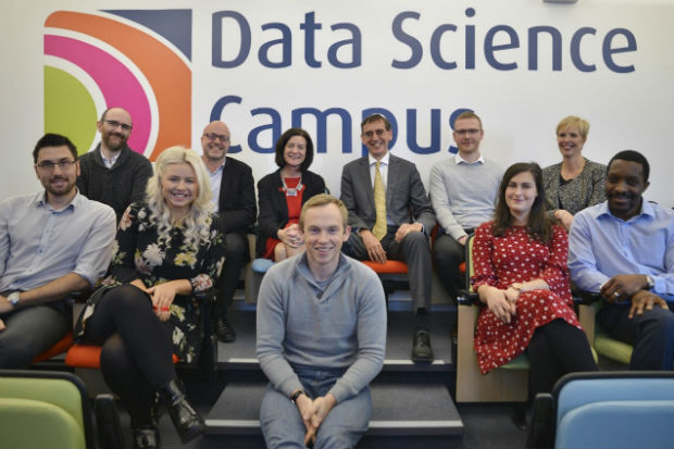 John Pullinger with a group of graduating data science apprentices at the Data Science Campus