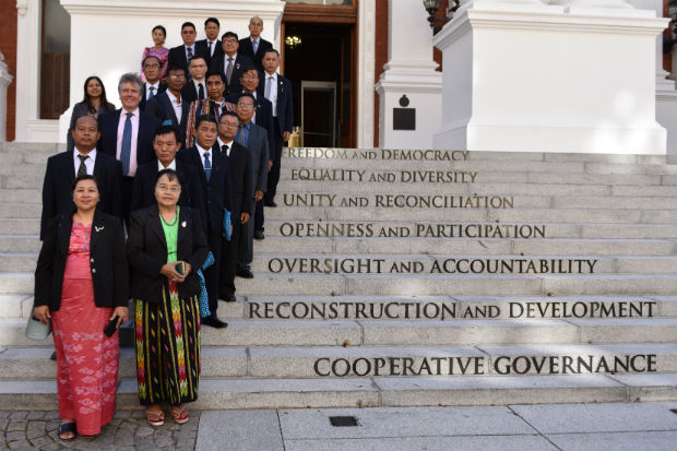A delegation from the Parliament of Myanmar on the steps of the National Assembly of South Africa in April 2019