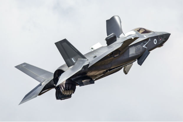 A UK F-35B Lightning (II) military aircraft in flight