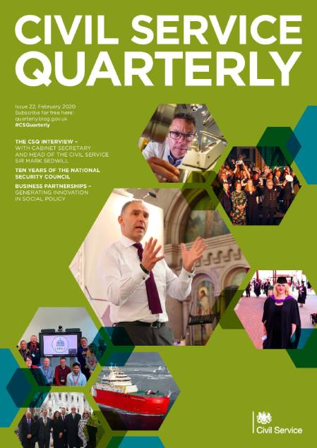 Front cover of Civil Service Quarterly 22, with a collage of images illustrating articles in the magazine.
