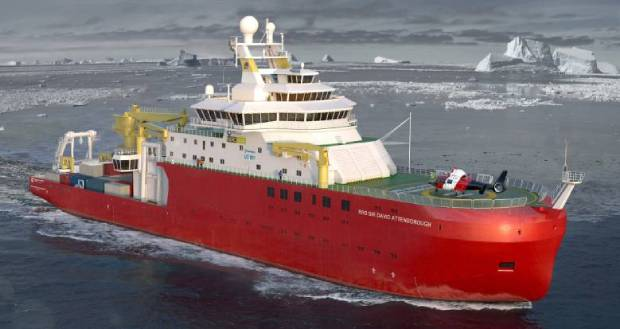 Research vessel the RRS Sir David Attenborough on deployment in the Antarctic